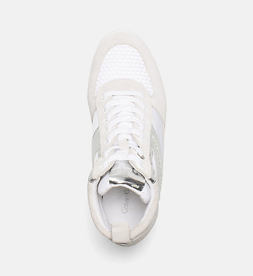 CALVIN KLEIN JEANS Suede Metallic Trim Sneakers - WHITE/SILVER - CALVIN KLEIN JEANS SHOES & ACCESSORIES - detail image 1