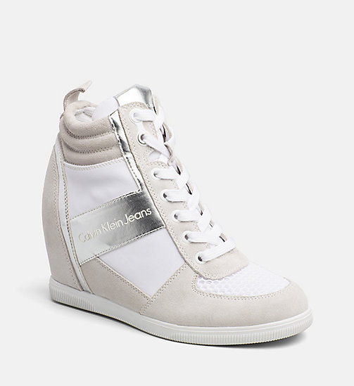 CALVIN KLEIN JEANS Suede Metallic Trim Sneakers - WHITE/SILVER - CALVIN KLEIN JEANS SHOES & ACCESSORIES - main image