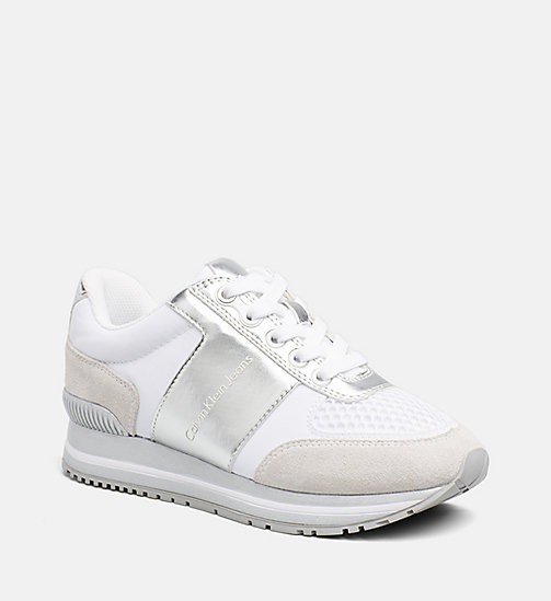 CALVIN KLEIN JEANS Metallic Trim Sneakers - WHITE/SILVER - CALVIN KLEIN JEANS TRAINERS - main image