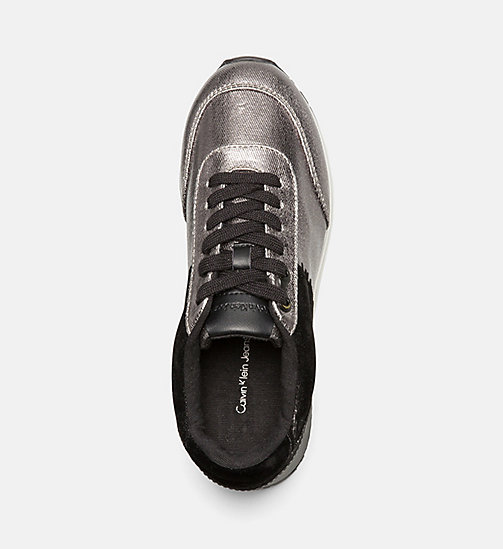CALVIN KLEIN JEANS Metallic Canvas Sneakers - PEWTER/ BLACK - CALVIN KLEIN JEANS TRAINERS - detail image 1