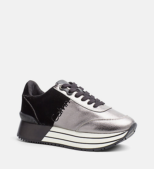 CALVIN KLEIN JEANS Metallic Canvas Sneakers - PEWTER/ BLACK - CALVIN KLEIN JEANS TRAINERS - main image