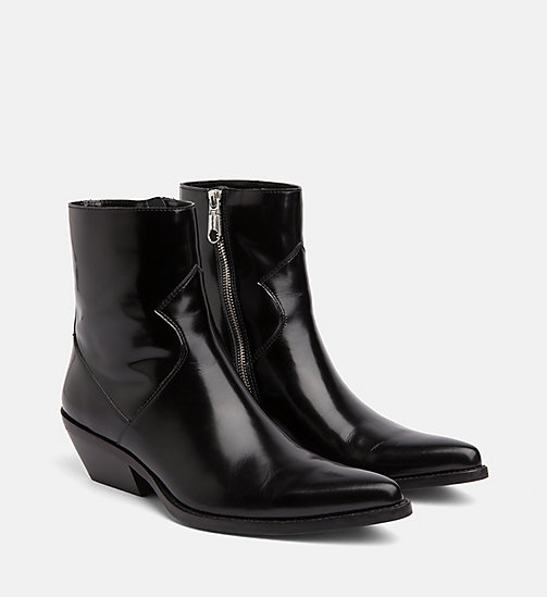 CALVIN KLEIN JEANS Leather Ankle Boots - BLACK - CALVIN KLEIN JEANS CORDUROY - detail image 1