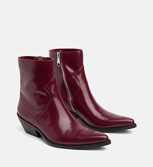 CALVIN KLEIN JEANS Leather Ankle Boots - DARK BURGUNDY - CALVIN KLEIN JEANS BOOTS - detail image 1