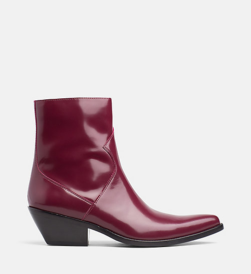 CALVIN KLEIN JEANS Leather Ankle Boots - DARK BURGUNDY - CALVIN KLEIN JEANS CORDUROY - main image