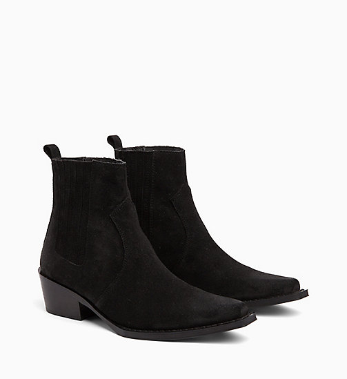 CALVIN KLEIN JEANS Suede Ankle Boots - BLACK - CALVIN KLEIN JEANS CORDUROY - detail image 1