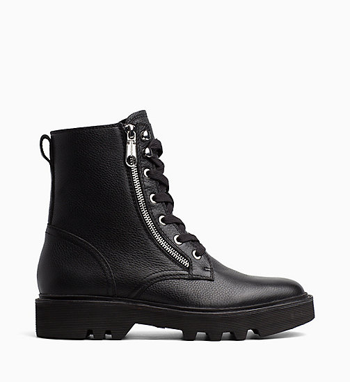 CALVIN KLEIN JEANS Leather Ankle Boots - BLACK - CALVIN KLEIN JEANS CORDUROY - main image