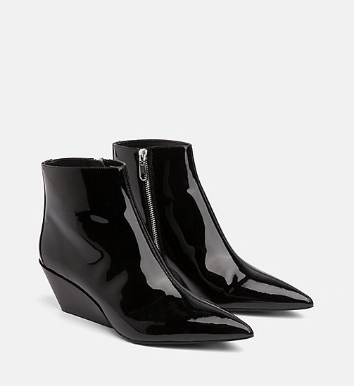 CALVIN KLEIN JEANS Patent Leather Ankle Boots - BLACK - CALVIN KLEIN JEANS BOOTS - detail image 1