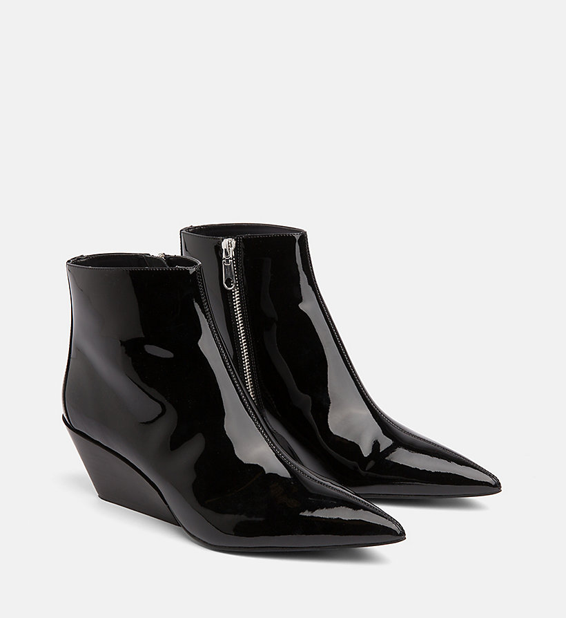 CALVIN KLEIN JEANS Patent Leather Ankle Boots - WHITE - CALVIN KLEIN JEANS WOMEN - detail image 1