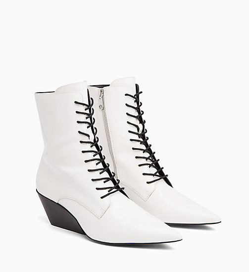 CALVIN KLEIN JEANS Patent Leather Ankle Boots - WHITE - CALVIN KLEIN JEANS BOOTS - detail image 1