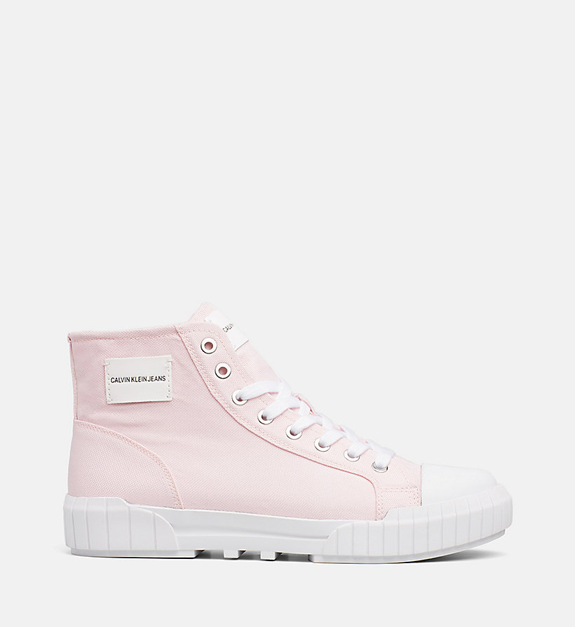 CALVIN KLEIN JEANS High Top Sneakers aus Nylon - OFF WHITE - CALVIN KLEIN JEANS DAMEN - main image