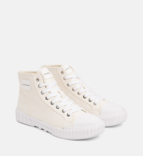 CALVIN KLEIN JEANS Nylon High-Top Trainers - OFF WHITE - CALVIN KLEIN JEANS TRAINERS - detail image 1