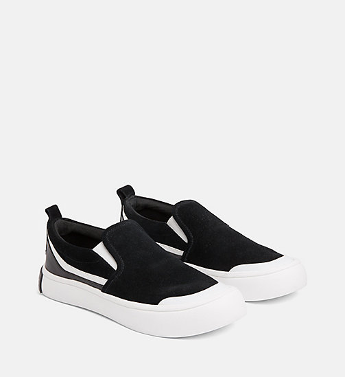 CALVIN KLEIN JEANS Suede Slip-On Shoes - BLACK/WHITE/BLACK - CALVIN KLEIN JEANS FLAT SHOES - detail image 1