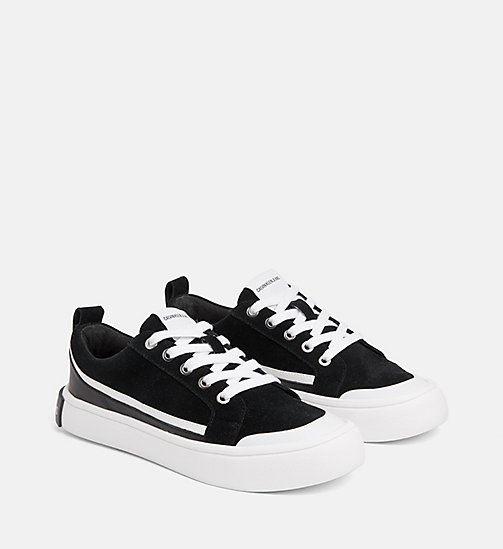 CALVIN KLEIN JEANS Suede Sneakers - BLACK/WHITE/BLACK - CALVIN KLEIN JEANS TRAINERS - detail image 1