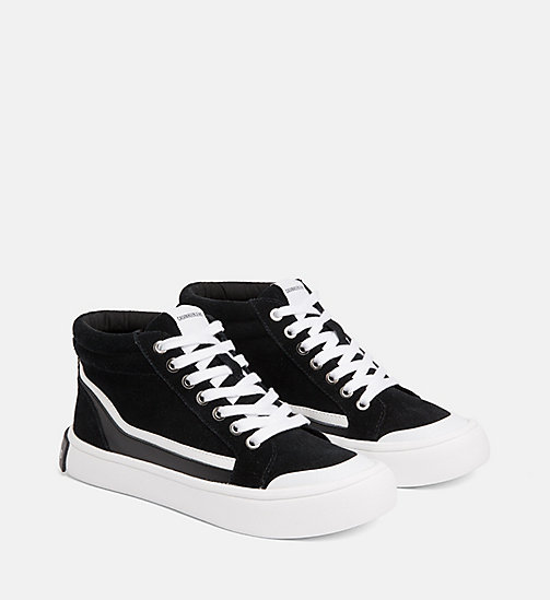 CALVIN KLEIN JEANS Suede High-Top Trainers - BLACK/WHITE/BLACK - CALVIN KLEIN JEANS IN THE THICK OF IT FOR HER - detail image 1