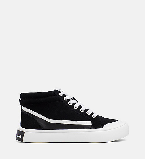CALVIN KLEIN JEANS Suede High-Top Trainers - BLACK/WHITE/BLACK - CALVIN KLEIN JEANS IN THE THICK OF IT FOR HER - main image