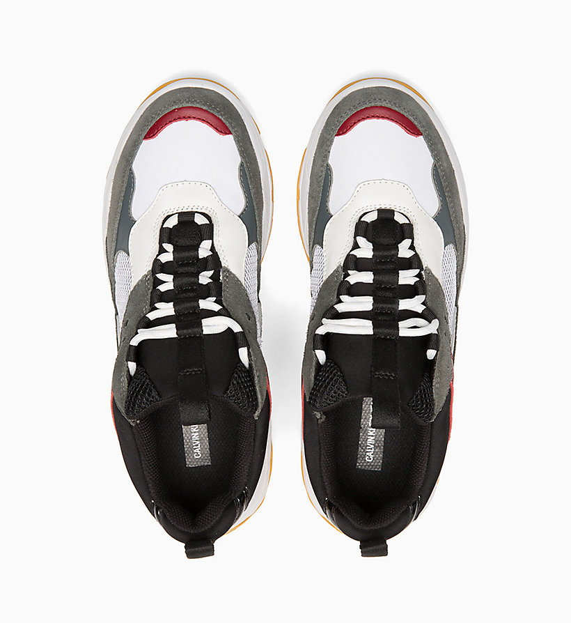 CALVIN KLEIN JEANS Leather Chunky Trainers - ROSSO/BLUE/GREY/WHITE - CALVIN KLEIN JEANS WOMEN - detail image 3