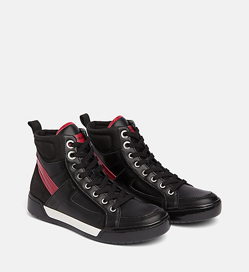 CALVIN KLEIN JEANS Leather High-Top Trainers - BLACK/BLACK/SCARLET - CALVIN KLEIN JEANS IN THE THICK OF IT FOR HER - detail image 1