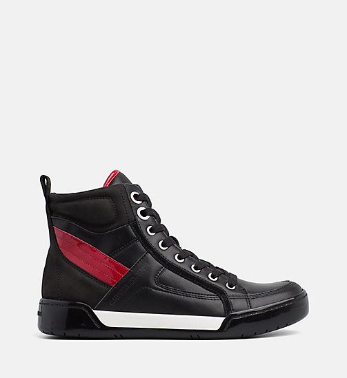 CALVIN KLEIN JEANS Leather High-Top Trainers - BLACK/BLACK/SCARLET - CALVIN KLEIN JEANS The New Off-Duty - main image