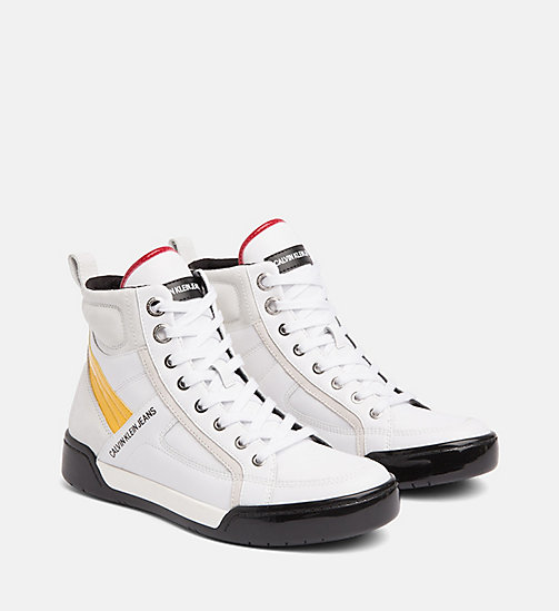 CALVIN KLEIN JEANS Leather High-Top Trainers - WHITE/WHITE/SUNFLOWER - CALVIN KLEIN JEANS FALL DREAMS - detail image 1