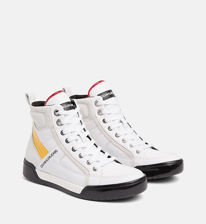 CALVIN KLEIN JEANS Leather High-Top Sneakers - BLACK/BLACK/SCARLET - CALVIN KLEIN JEANS WOMEN - detail image 1
