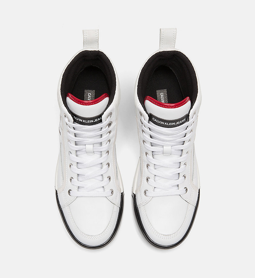 CALVIN KLEIN JEANS Leather High-Top Sneakers - BLACK/BLACK/SCARLET - CALVIN KLEIN JEANS WOMEN - detail image 3