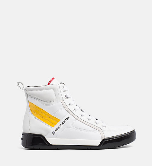CALVIN KLEIN JEANS Leather High-Top Trainers - WHITE/WHITE/SUNFLOWER - CALVIN KLEIN JEANS FALL DREAMS - main image