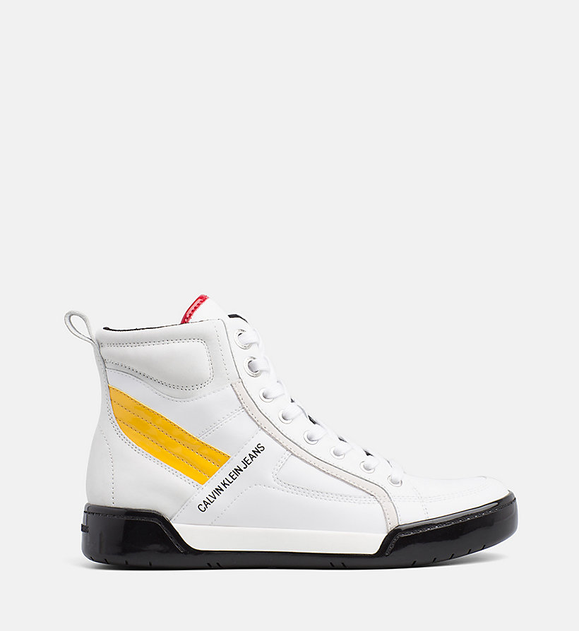 CALVIN KLEIN JEANS Leather High-Top Trainers - BLACK/BLACK/SCARLET - CALVIN KLEIN JEANS WOMEN - main image