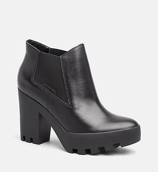 CALVIN KLEIN JEANS Leather Ankle Boots - BLACK - CALVIN KLEIN JEANS BOOTS - main image