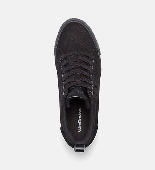CALVIN KLEIN JEANS Canvas Wedge Sneakers - BLACK - CALVIN KLEIN JEANS SHOES - detail image 1