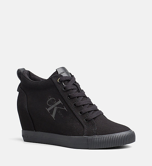 CALVIN KLEIN JEANS Canvas Wedge Sneakers - BLACK - CALVIN KLEIN JEANS SHOES - main image