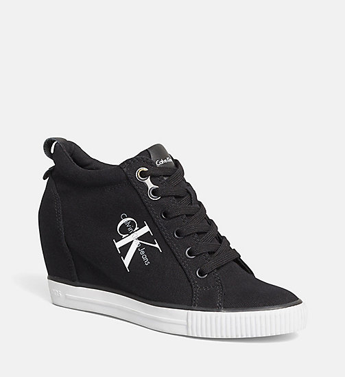 CALVIN KLEIN JEANS Canvas Wedge Sneakers - WHITE/BLACK - CALVIN KLEIN JEANS SHOES & ACCESORIES - main image