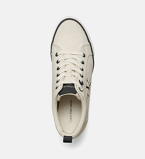 CALVIN KLEIN JEANS Canvas Wedge Sneakers - IVORY - CALVIN KLEIN JEANS SHOES & ACCESORIES - detail image 1