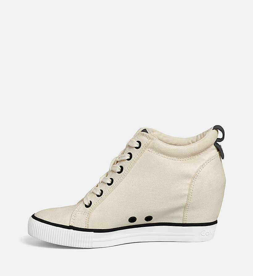 CALVIN KLEIN JEANS Canvas Wedge Sneakers - WHITE/BLACK - CALVIN KLEIN JEANS WOMEN - detail image 2