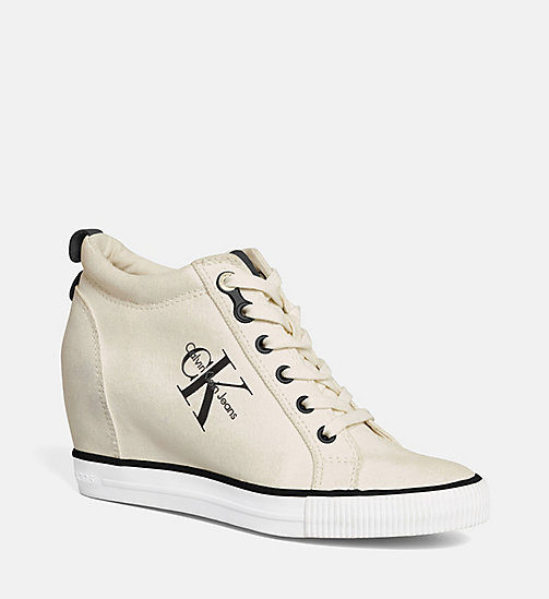 CALVIN KLEIN JEANS Canvas Wedge Sneakers - IVORY - CALVIN KLEIN JEANS SHOES & ACCESORIES - main image