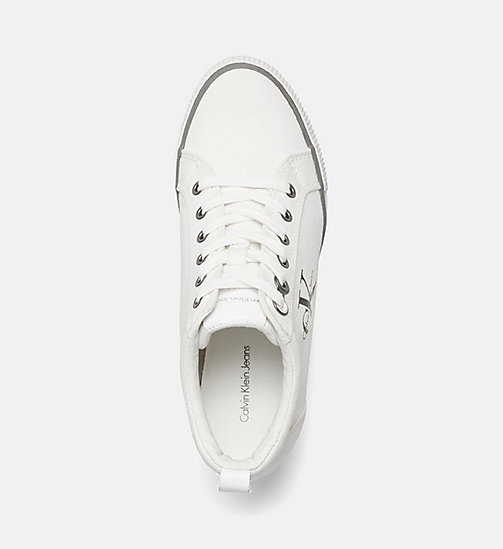 CALVIN KLEIN JEANS Canvas Wedge Sneakers - BLACK/WHITE - CALVIN KLEIN JEANS TRAINERS - detail image 1