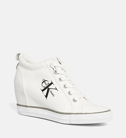 CALVIN KLEIN JEANS Canvas Wedge Sneakers - BLACK/WHITE - CALVIN KLEIN JEANS SHOES & ACCESORIES - main image