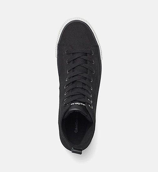 CALVIN KLEIN JEANS Canvas High-Top Sneakers - BLACK/BLACK - CALVIN KLEIN JEANS TRAINERS - detail image 1