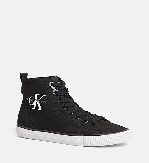 CALVIN KLEIN JEANS Canvas High-Top Sneakers - BLACK/BLACK - CALVIN KLEIN JEANS TRAINERS - main image