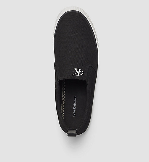 CALVIN KLEIN JEANS Canvas Slip-On Shoes - BLACK -  FLAT SHOES - detail image 1