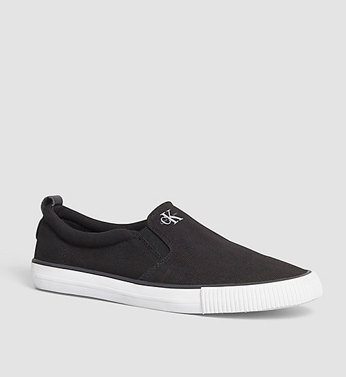 CALVIN KLEIN JEANS Canvas Slip-On Shoes - BLACK - CALVIN KLEIN JEANS SHOES - main image