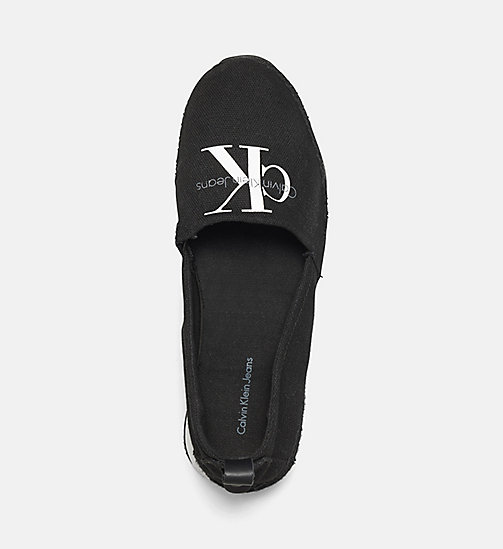 CALVIN KLEIN JEANS Canvas Slip-On Shoes - BLACK/BLACK - CALVIN KLEIN JEANS FLAT SHOES - detail image 1