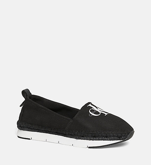 CALVIN KLEIN JEANS Canvas Slip-On Shoes - BLACK/BLACK - CALVIN KLEIN JEANS FLAT SHOES - main image