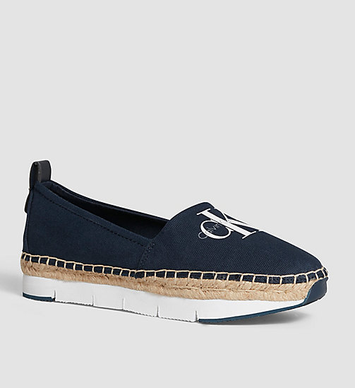 CALVIN KLEIN JEANS Canvas Slip-On Shoes - BLACK/NAVY - CALVIN KLEIN JEANS FLAT SHOES - main image