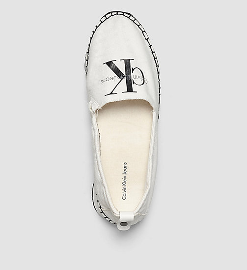 CALVIN KLEIN JEANS Canvas Slip-On Shoes - BLACK/WHITE -  FLAT SHOES - detail image 1