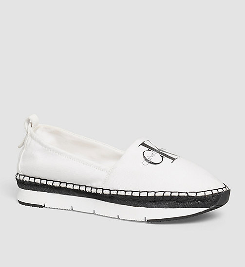 CALVIN KLEIN JEANS Canvas Slip-On Shoes - BLACK/WHITE - CALVIN KLEIN JEANS FLAT SHOES - main image