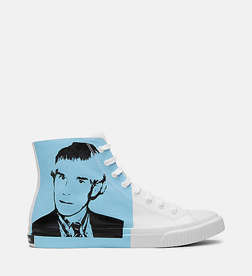 CALVIN KLEIN JEANS Warhol Portrait Canvas Sneakers - WHITE/LIGHT BLUE - CALVIN KLEIN JEANS TRAINERS - main image