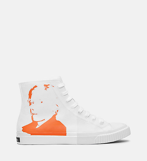 CALVIN KLEIN JEANS Warhol Portrait Canvas Sneakers - WHITE/ORANGE -  TRAINERS - main image