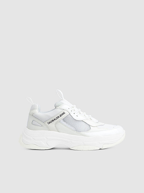 CALVIN KLEIN JEANS Leather Chunky Trainers - BRIGHT WHITE - CALVIN KLEIN JEANS TRAINERS - main image