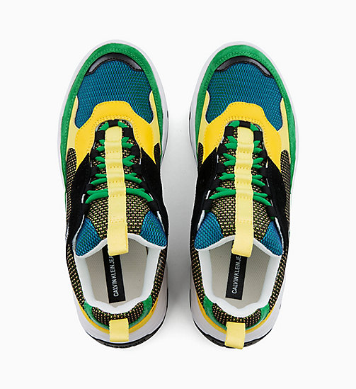 CALVIN KLEIN JEANS Leather Chunky Trainers - BLACK/GREEN/LEMON - CALVIN KLEIN JEANS TRAINERS - detail image 1