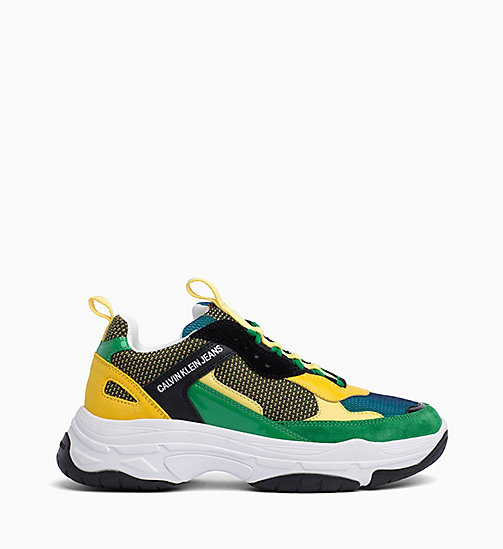 CALVIN KLEIN JEANS Leather Chunky Trainers - BLACK/GREEN/LEMON - CALVIN KLEIN JEANS TRAINERS - main image